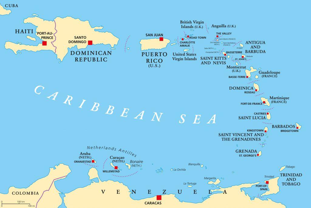 Die Leeward Islands auf einer Karte