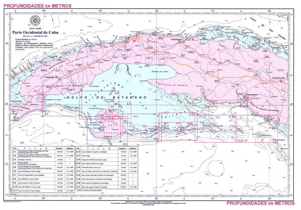 Seekarte Segeln auf Kuba