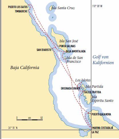 Route für einen Törn in Mexico