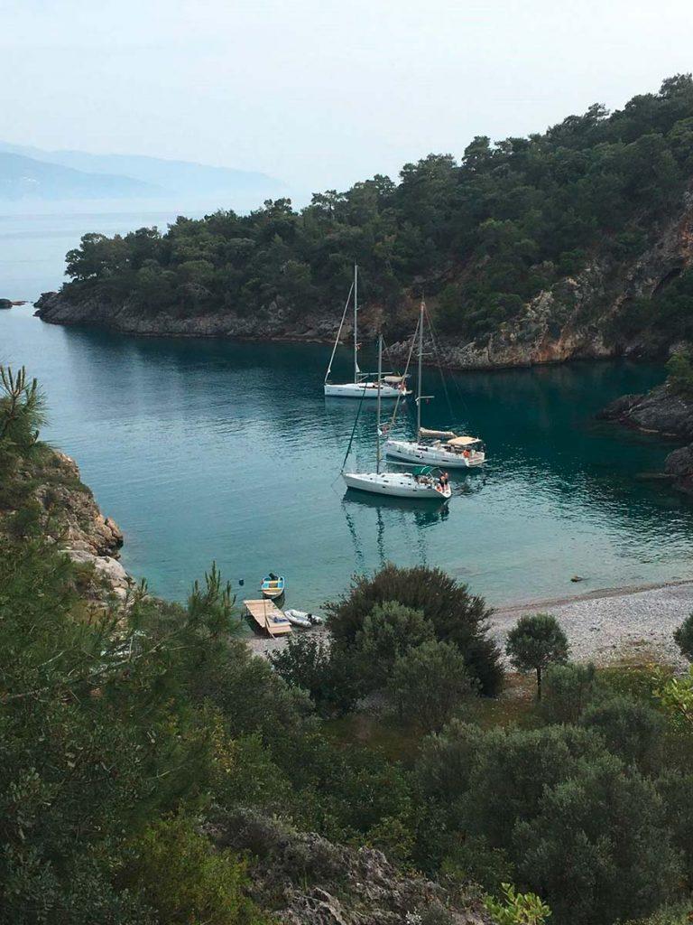 Türkei Bucht mit Segelbooten